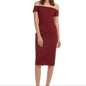 Trina Turk off the shoulder fitted knit midi dress